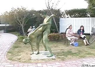 green japanese garden statues fuck in public
