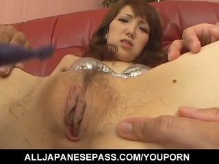 japanese lady ai into a silver bikini smoked
