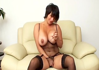 milf friday masturbates in armchair