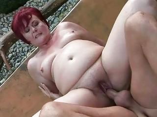 heavy grandma acquires her vagina drilled public
