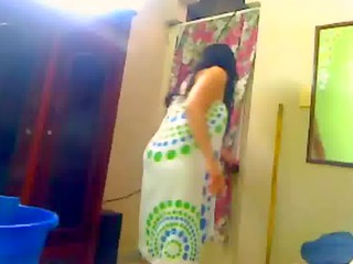 indian wife bathroom for her hubby on a webcam