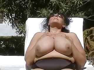 german bbwgranny with hugeboobs outdoors