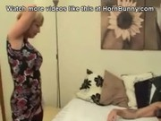 english lady wakes up her son and licks his
